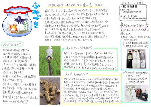 内山農産ニュースレター ふみづき(H23.7.1.発行)