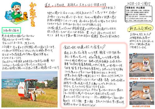 内山農産ニュースレター10月号