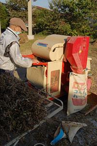 大豆専用の脱穀機