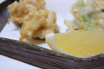 白子とフキノトウの天ぷら