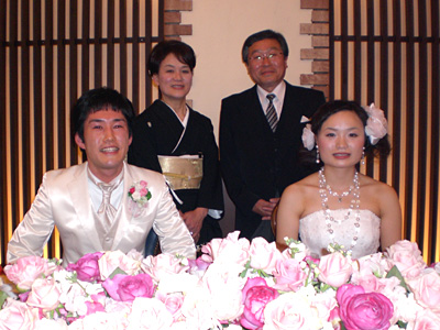 新郎新婦と新婦の両親