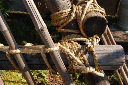 荒縄で丸太と竹を縛って固定します
