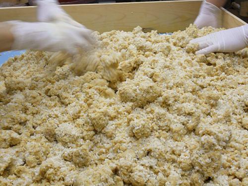 米麹と混ぜ合わせる