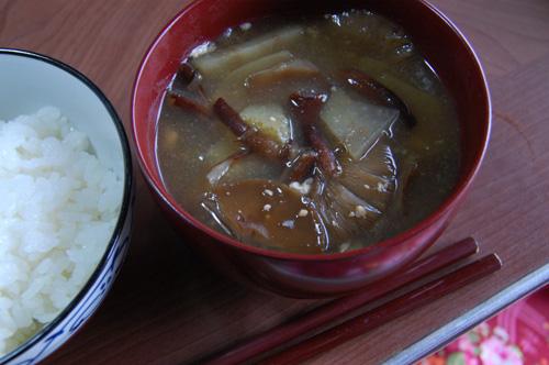 ヤブタケをたっぷり入れたお味噌汁