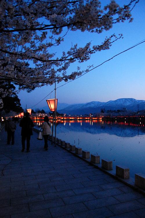 桜と赤い西堀橋